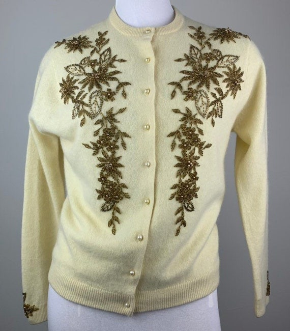 Vintage 50s Butter Yellow & Gold Beaded Cardigan … - image 2