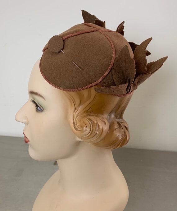 Vintage 30s Brown Cloche Hat Skull Cap - image 5