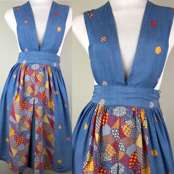 Vintage 40s Rayon Patchwork Print Jumper Dress