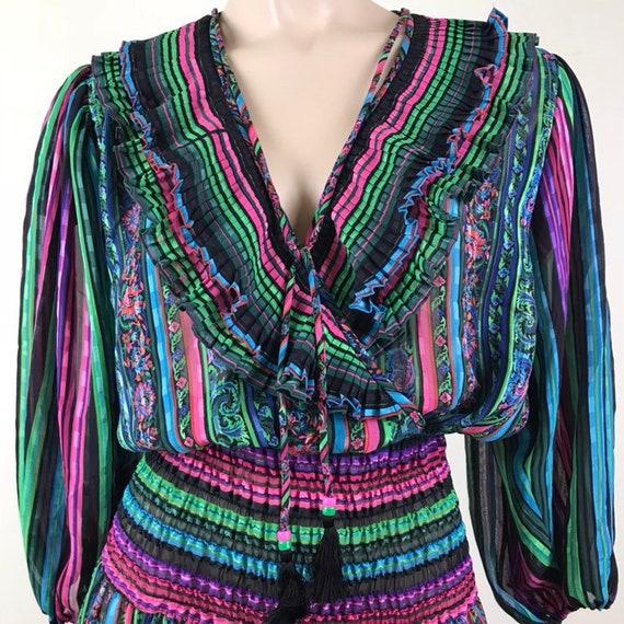 Vintage 80s Diane Fres Boho Ruffle Dress