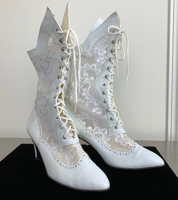 Vintage 80s White Leather Lace Boots Madonna Brida