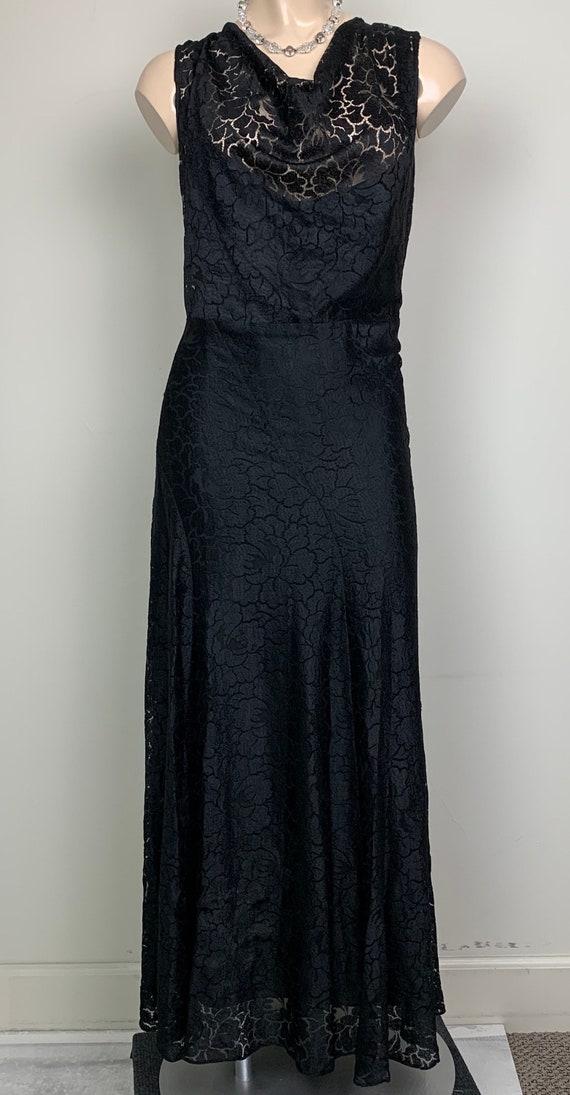 Vintage 20s 30s Art Deco Black Lace Dress - image 4