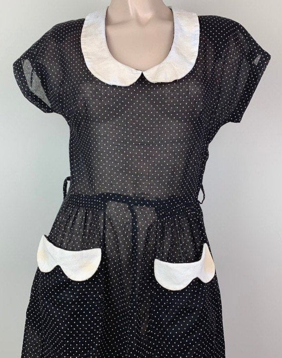 Vintage 40s Black & White Dotted Swiss Dress
