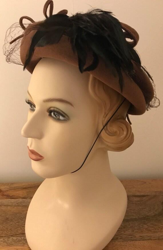 Vintage 40s Fur Felt Wide Brim Hat With Feathers
