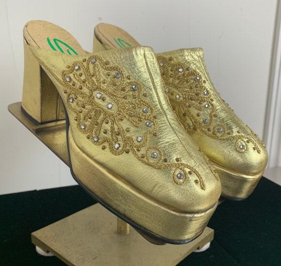 Spectacular Vintage 70s Gold Glam Rock Platform Sh