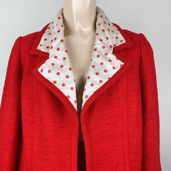 Vintage 60s Lilli Ann Red Polka Dot Suit Deadstock