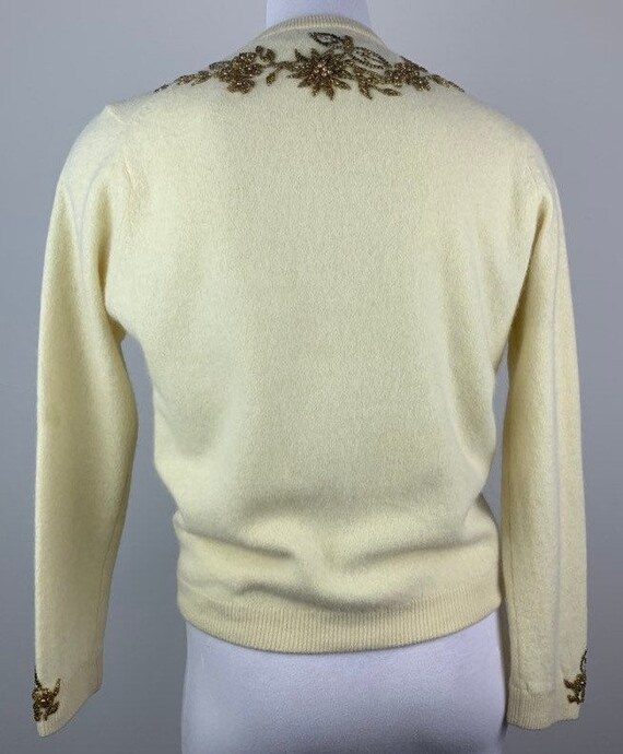 Vintage 50s Butter Yellow & Gold Beaded Cardigan … - image 4