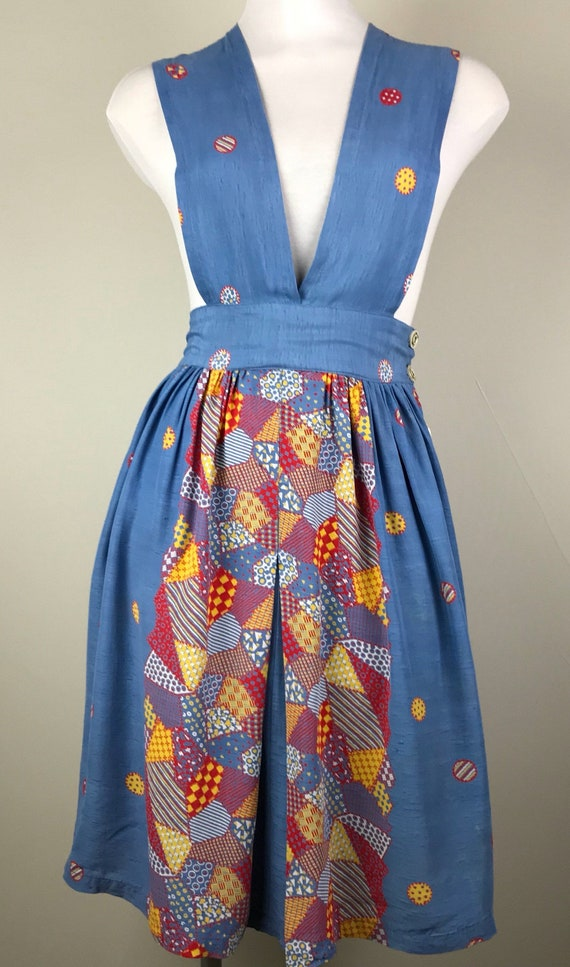 Vintage 40s Rayon Patchwork Print Jumper Dress - image 3