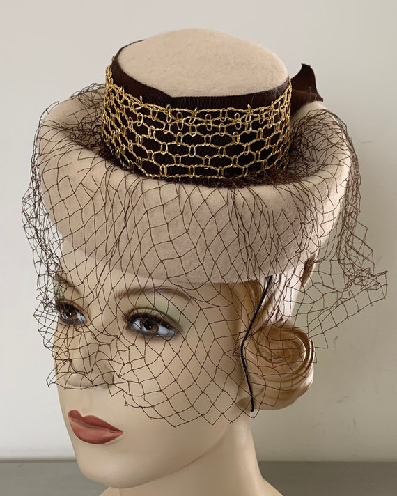 Vintage 30s 40s Wool Tilt Hat Fascinator Hat