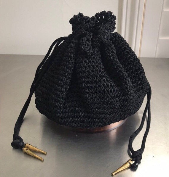 Vintage 40s Black Crochet Drawstring Purse With To