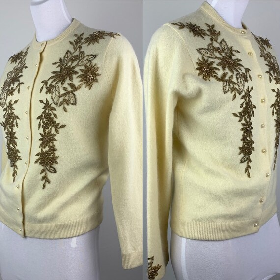 Vintage 50s Butter Yellow & Gold Beaded Cardigan … - image 3