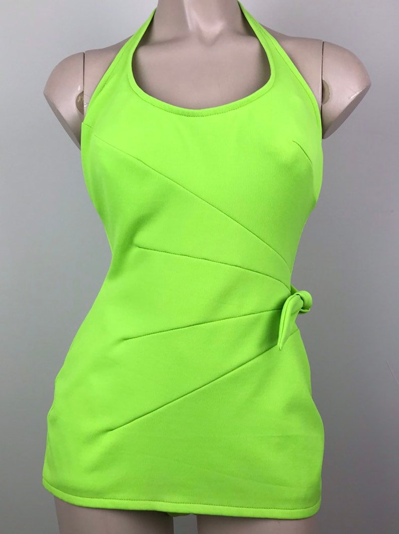 Vintage 60s Lime Pin Up Halter Swimsuit Bathing Suit