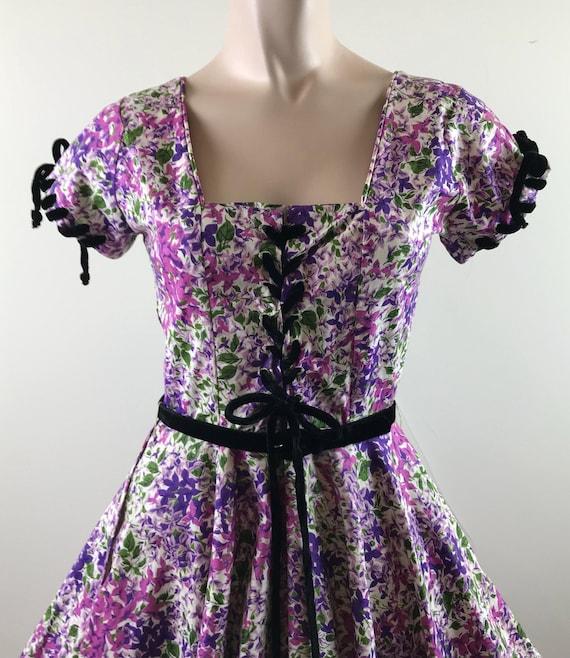 Vintage 50s Lavender Lace up Ribbon Dress