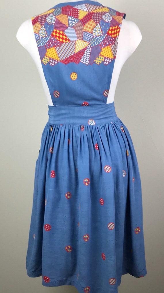 Vintage 40s Rayon Patchwork Print Jumper Dress - image 9