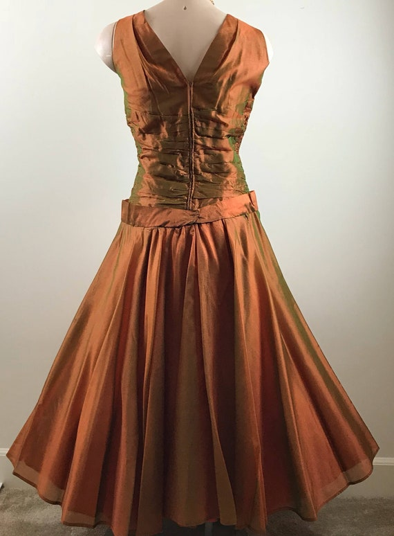 Vintage 50s Copper Party Dress Formal Dress - image 4