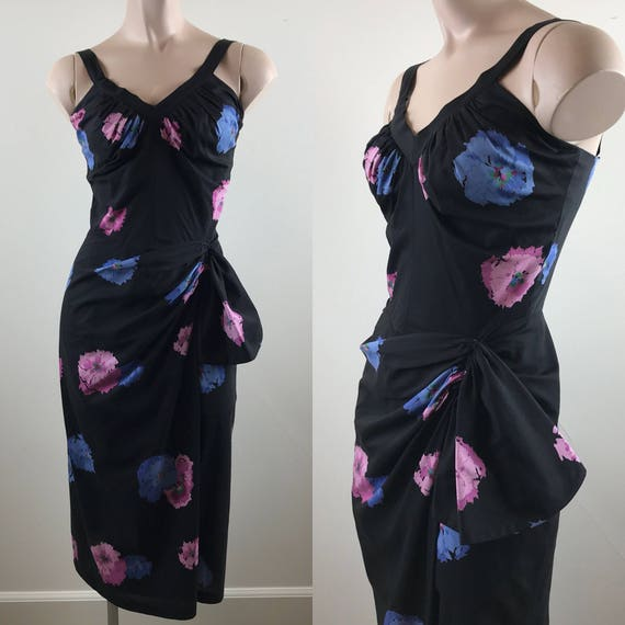 Vintage 50s Hibiscus Print Sarong Dress
