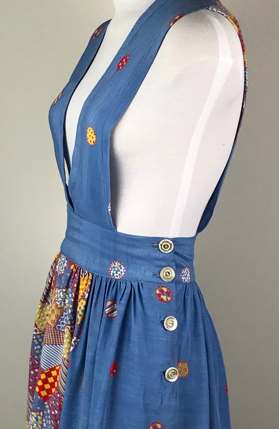 Vintage 40s Rayon Patchwork Print Jumper Dress - image 7