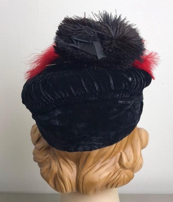 Vintage 30s Smocked Silk Velvet Tilt Hat With Fea… - image 5
