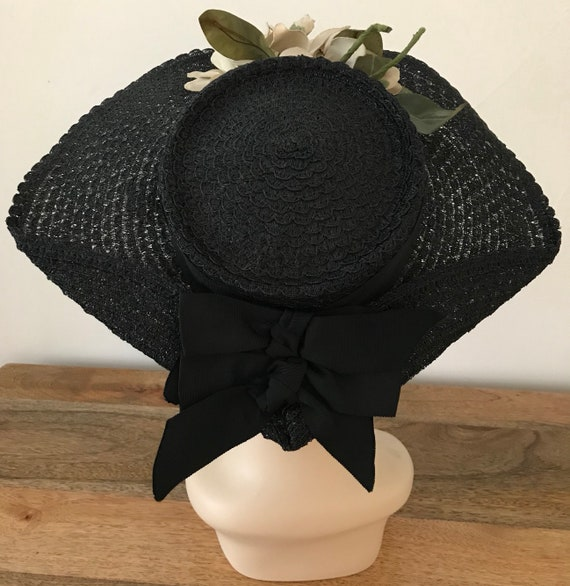 Vintage 40s Black Straw Wide Brim Hat