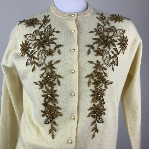 Vintage 50s Butter Yellow & Gold Beaded Cardigan … - image 1
