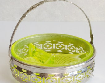 Chartreuse Green Relish Dish in Silver Plate Holder, vintage