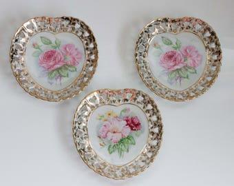 Roses and Gold Heart Shaped Decorative Porcelain Plates Set of 3 vintage & Porcelain plate | Etsy