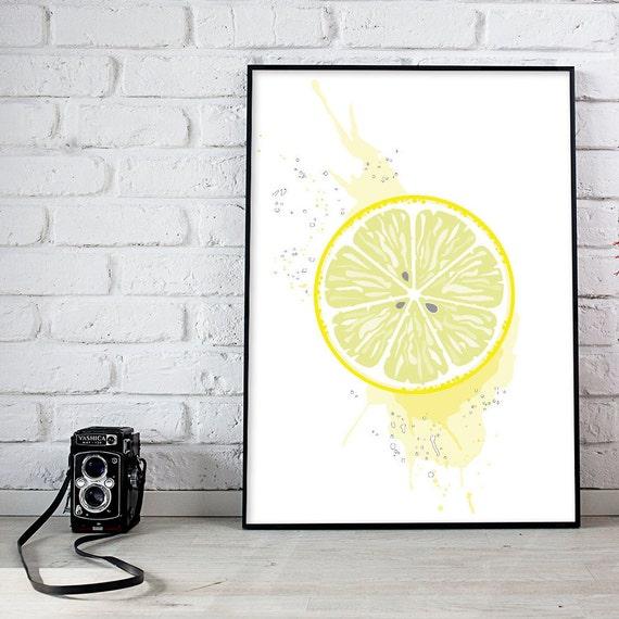 Printable Wall Art Lemon Kitchen Decor Large Wall Art Etsy