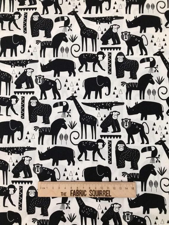 Baby Safari Zoo Animaux 100/% Coton Tissu Matériau Par Demi Mètre