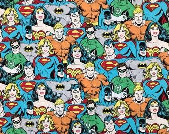 DC Comic Fabric Colour - Batman - Supergirl - Aquaman - Green Lantern - Wonder Woman - Camelot Materials - Superhero 100% Cotton Material