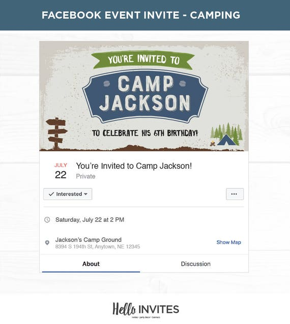 Camping Blue Birthday Facebook Event Invitation Green Boy