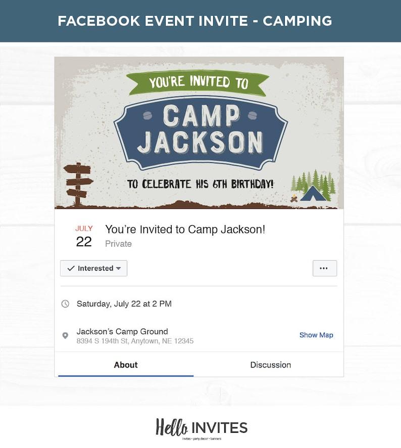 Camping Blue Birthday Facebook Event Invitation Green Boy