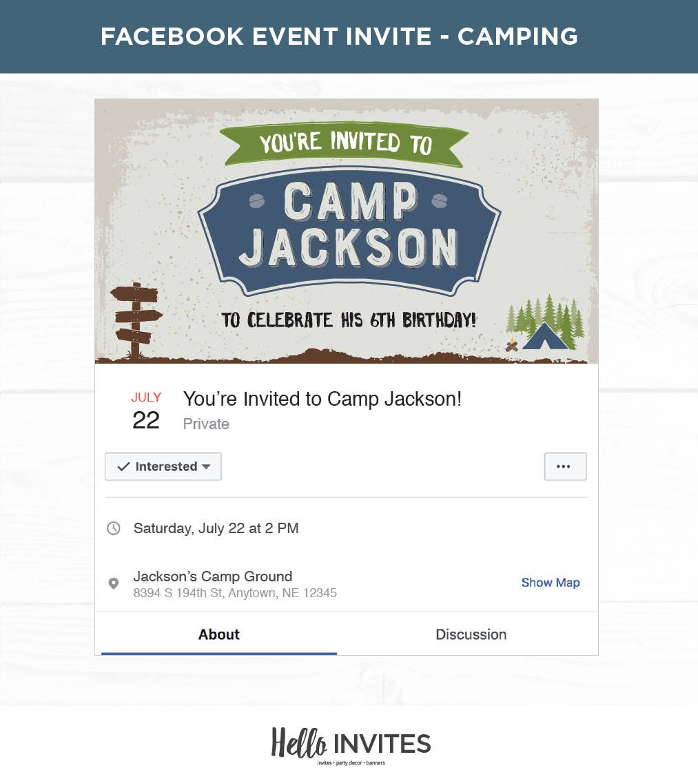Camping Blue Birthday Facebook Event Invitation Green Boy | Etsy