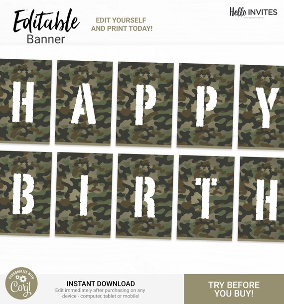 Camo Editable Happy Birthday Banner Decorations Instant Access Edit Now Military Army Digital Printable Diy Decor By Helloinvites Catch My Party