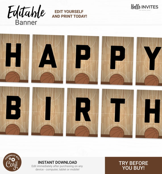 Basketball Editable Happy Birthday Banner Decorations Instant Access Edit Now Basketball Court Sports Digital Printable Diy Decor By Helloinvites Catch My Party