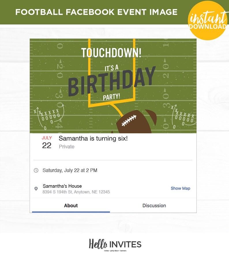 Football Birthday Facebook Event Invitation Touchdown Boy Girl