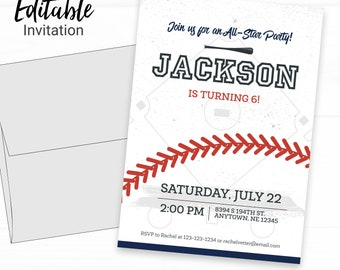 Baseball Birthday Invitation - Instant Access Edit Now - Baseball Bat Field Invite Digital Printable Invitation