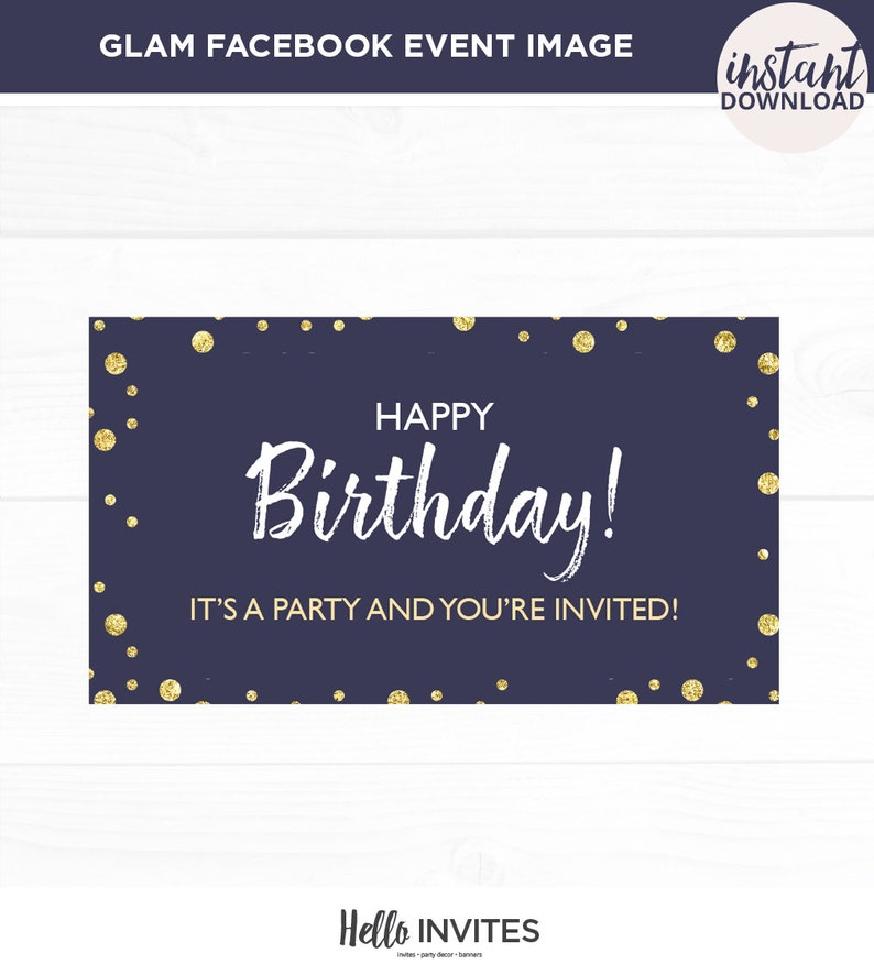 Glam Birthday Facebook Event Invitation Pink Blue Gold Girl Birthday Invite Girly Digital Facebook Invite
