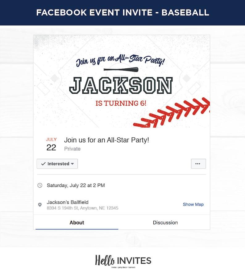 Baseball Birthday Facebook Event Invitation Red Blue Boy