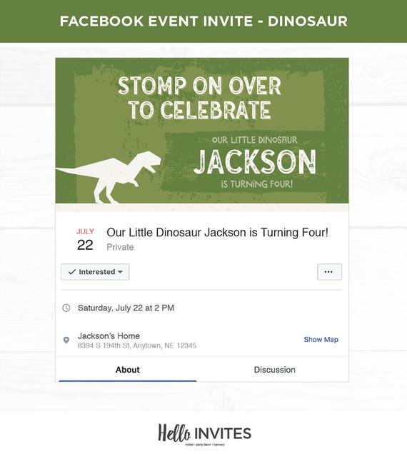 dinosaur birthday facebook event invitation green brown dirt etsy