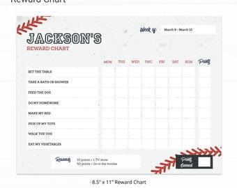 Baseball Editable Reward Chart - Instant Access Edit Now - Baseball Bat Field Printable Chore Chart Weekly Reward Chart for Kids Printable