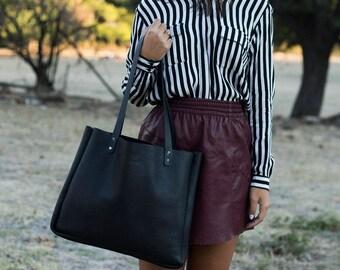 Black Leather Tote Bag/Black Leather Large Handbag/Laptop Bag 13 inch/A4 Leather Bag/Minimal Handmade Handbag/Woman Handbag
