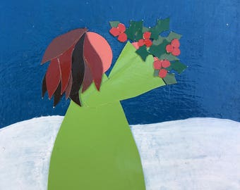 Holly Girl, Christmas, Collage, Folk Art, Recycled Art, whimsical, holiday