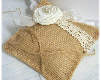 Pillow ring bearer wedding pillow wedding canvas jute, Burlap, lace, personalized pillow, pearls