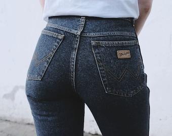 c2a87482f76dc Vintage 90s Wrangler Jeans Washed Out Denim Black Grey High Waist Denim