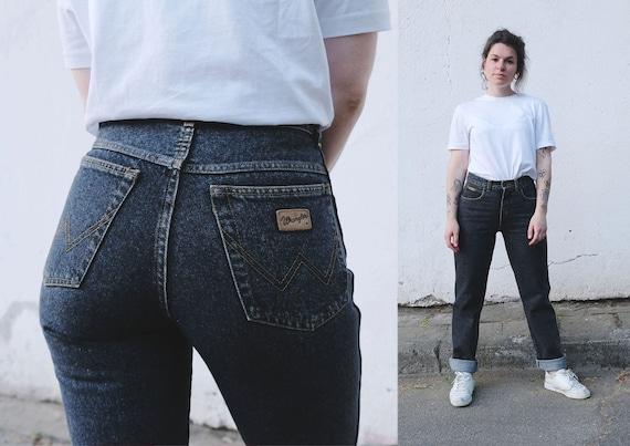 1990s Get Washed Black High Waist Jeans 26\u201d