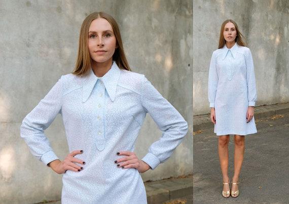 Mod Vintage 70s Baby Blue Shirt Dress, Long Sleeve