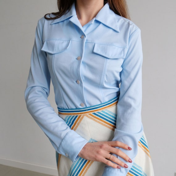 70s Vintage Baby Blue Polyester Shirt, Fitted Big