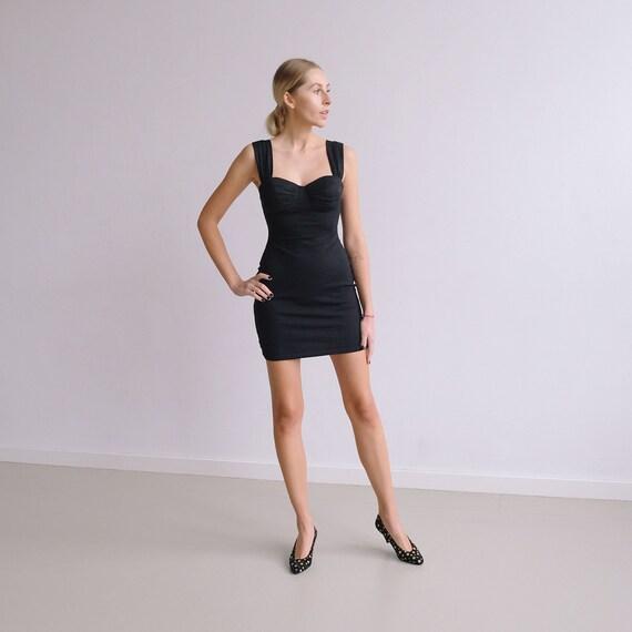 Little Black Dress 90s Bodycon Dress Vintage Bandage Sexy Etsy