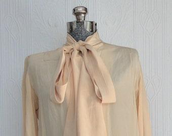 70's beige silk shirt small