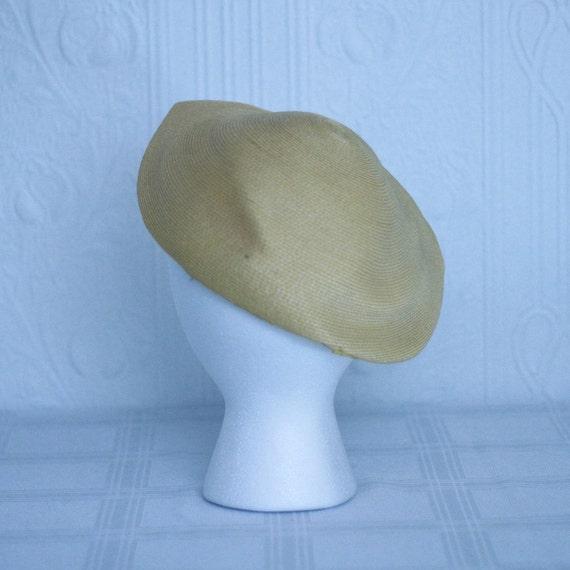 40's 50's yellow summer straw hat - small medium - image 3